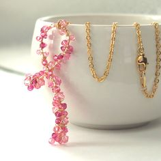 Pink Swarovski crystal encrusted necklace for breast cancer awareness Ribbon Necklace, Pink Parties, Awareness Ribbons, Breast Cancer Awareness, Necklace Lengths, Bridal Jewelry, Swarovski Crystals, Handmade Jewelry, Bangles