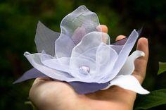 Flower Comb White and Lavender  Handmade Wedding  Bridal  by Leeya, $26.00