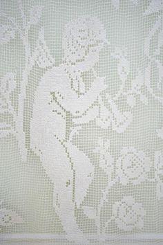 French Antique Cherub Curtain Panel