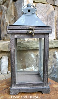 Lantern~rustic lantern~carriage lantern~antique lantern~wooden lantern~lantern for decor~wood with glass~small lantern