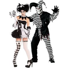 Black and White Trickster Couples Costumes
