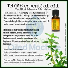 Thyme ~ The Oil of Releasing & Forgiving Check out my FB group:  https://www.facebook.com/groups/1433913050217767/