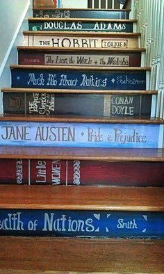 Fun idea for a book-lover's stairs