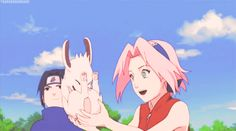 Look at sasuke smiling at Sakura and Akamaru #sasusaku