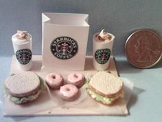 Barbie Sized Starbucks Food Board Set Egg Salad Sandwiches & Mini Donuts by theartisttreehouse @ Etsy