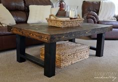 When you want a Pottery Barn look on a budget, DIY is the way to go! See how to save hundreds by building your own wood slab coffee table.