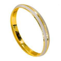 Gold Chain Men Style - Multi Tone Gold Kada Bangle for Men W/ Split Textured White Gold Frame Braclets Gold, Mens Gold Bracelets, Mens Gold Jewelry, Silver Jewelry, Bling Jewelry, Jewelry Necklaces, Gents Bracelet, Gold Bangles Design, Gold Chains For Men