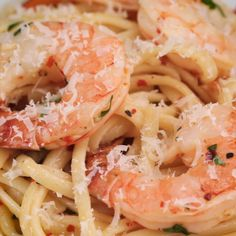 Baked Shrimp Linguine Scampi (WITHOUT THE WINE) ~ food recipe recipes foodie cook cooking yummie salads pasta Tasty Dishes at home fish seafood dishes meat soup cake dessert sweet pudding Fish Recipes, Seafood Recipes, Chicken Recipes, Cooking Recipes, Healthy Recipes, Seafood Meals, Pasta Recipes, Seafood Pasta, Cooking Tips