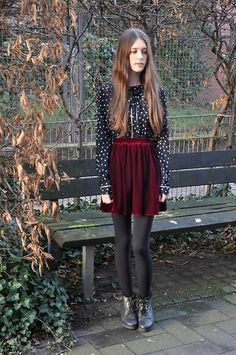 Urban Outfitters Blouse, American Apparel Velvet Skirt, Deena & Ozzy Boots