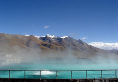 Tibet:   for one's solitude = good time to visit the hot springs in Yambajan is in early morning when steam rises off the pools and seems to melt into the snow - capped mountains.