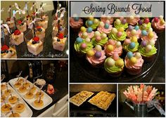 Spring Brunch/Baby Shower w/ baby pancakes, cupcakes, chile/bacon/cream cheese pinwheels, yogurt parfaits
