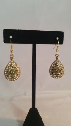 Teardrop Green & Gold Rhinestone Earrings