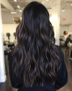 48 Ideas hairstyles long black hair dark brown for 2019 Brown Hair With Blonde Highlights, Brown Hair Balayage, Hair Color Highlights, Dark Hair Lowlights, Bayalage Brunette, Balayage Straight, Orange Highlights, Blonde Ombre, Brunette Hair