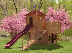 The #920 Stately Abode Kids Wooden Play Set. What prince or princess wouldn't want this awesome Play Set? See more play shapes at Play Mor Swing Sets.