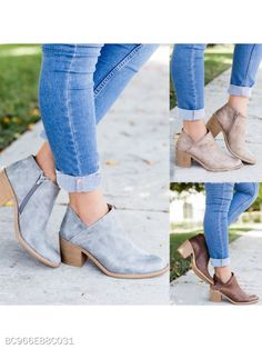 27c5d689109 Shoes like this. Plain High Heeled Round Toe Outdoor Ankle Boots -  berrylook.com