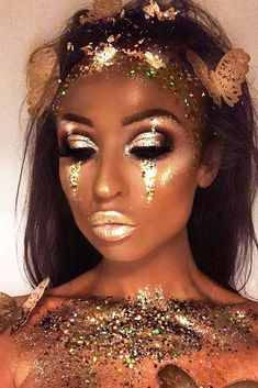 Gold Fairy Makeup Idea ★ For beautiful and unique fantasy makeup ideas, browse our gallery. We selected the most creative makeup looks of gorgeous goddesses, a dark dragon, a mermaid from a fairy tale, an elf with a pot of gold and many more. Festival Makeup Glitter, Glitter Makeup, Makeup Eyeshadow, Nyx Lipstick, Lipstick Colors, Violet Pastel, Gold Makeup Looks, Mermaid Makeup Looks, Goddess Makeup