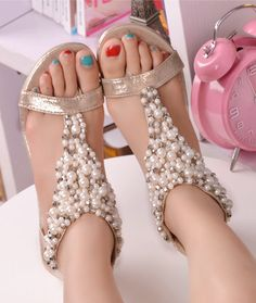 Two color wedge Clip toe handmade Pearl beads wedding sandals/Bride shoes Bridesmaids shoes crystal sandals Flat heels /Clip toe sandals on Etsy, $43.06 CAD