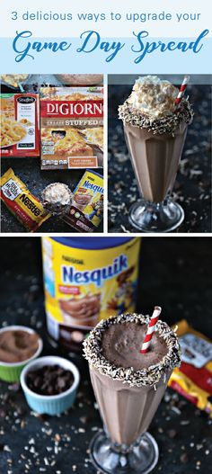 Made with Nestlé® Nesquik® Chocolate Powder and Nestlé® Toll House® Real Semi-Sweet Chocolate Morsels, this recipe for Chocolate Coconut Milkshakes is truly tasty! The creative rim of chocolate and toasted coconut is just one of these 3 Delicious Ways to Upgrade Your Game Day Spread. Find everything you need to upgrade your everyday menu—made with ingredients you know and trust—by heading to Walmart.
