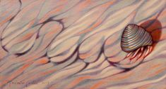 Small oil painting on wood panel. Hermit crab on his way home. 12.4 x 6.7 in, 2017. Imaginary animals