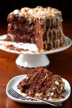 Chocolate Cola Cake with Toasted Pecan and Coconut Icing by Completely Delicious. RECIPE from scratch *****