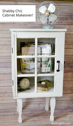 Make your own shabby chic cabinet with this Target inspired window cabinet DIY. Great home decor idea that is pretty and functional.