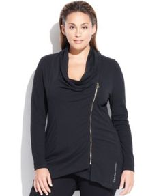Calvin Klein Plus Size Active Cowl-Neck Jacket | macys.com