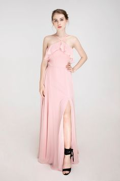 Ruffled halter chiffon bridesmaid dress with side slit for spring wedding color inspiration Junior Bridesmaids, Wedding Bridesmaid Dresses, Color Inspiration, Wedding Inspiration, Wedding Ideas, Spring Wedding Colors, Wedding Planning, Tulle, Chiffon