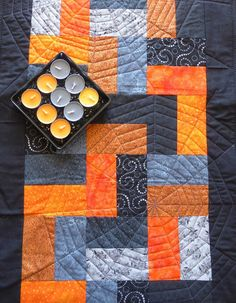 Quilted table runner modern table runner black by RoniGsQuiltings