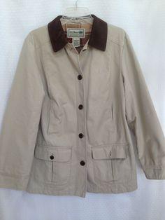 Vintage LL Bean Barn Coat Jacket Bone multi Plaid Lining Pockets Women M Medium #LLBean #BasicCoat