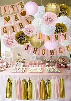 Pink and Gold Baby Shower Decorations for Girl Baby Shower IT'S A GIRL Garland Bunting Banner Party Decorations, Cute Baby Shower Ideas, Baby Shower Vintage, Baby Girl Shower Themes, Girl Baby Shower Decorations, Baby Shower Princess, Baby Shower Pink, Birthday Decorations, Pink Decorations, Baby Shower Table