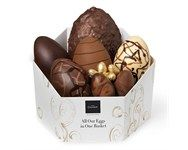 All Our Eggs In One Basket from Hotel Chocolat - A spectacular hamper showcasing every kind of Easter egg they make - from the smallest egglet to a gigantic Ostrich eggshell