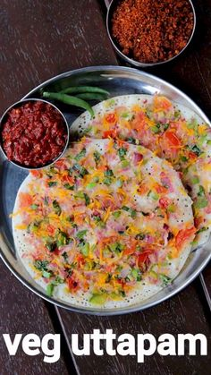 vegetable uttapam recipe, veg uttapam, mixed veggie uttapa with step by step photo/video. south indian breakfats recipe with multiple veg toppings. South Indian Breakfast Recipes, Indian Veg Recipes, Indian Dessert Recipes, Gujarati Recipes, Indian Snacks, Ethnic Recipes, Uttapam Recipe, Chaat Recipe, Spicy Recipes