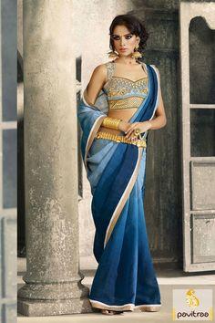 Pavitraa Blue Georgette Party Wear Sarees Rs 1651.5 #partywearsaree #embroiderypartywearsaree #dedsignerpatywearsaree #sareeonline