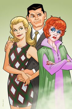 Caricatures of Samantha, Darrin and Endora from Bewitched