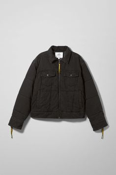 The Puffer Trucker Jacket by Cheap Monday combines workwear denim vibe and a puffer silhouette in one outstanding design. This quilted oversized jacket has a wide spread collar, flap chest pockets, a metal zipper and zip sleeve openings and tapes with Che Oversized Jacket, Silhouette, Parka, Work Wear, Raincoat, Jackets For Women, Bomber Jacket, Leather Jacket, Zipper