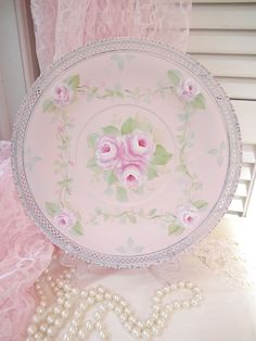 PALE PINK ROSES TRAY daSommers hp chic shabby vintage cottage hand painted plate