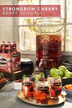Enjoy an easy and delicious sangria recipe using Strongbow Cherry Blossom Hard Cider. Simply add  your fresh cut fruit along with some fresh mint for an impressive and flavorful brunch drink on a  Sunday Funday. Brunch Drinks, Fun Drinks, Cocktail Drinks, Non Alcoholic Drinks, Yummy Drinks, Summer Cocktails, Refreshing Drinks, Party Drinks, Classic Cocktails