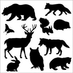 Woodland animals silhouette by A pack of silhouettes of woodland animals adapted from a drawing on Pixabay, on Silhouette Ours, Silhouette Images, Animal Silhouette, Black Silhouette, Art Clipart, Large Animals, Animals Images, Cute Animals, Wolf Images