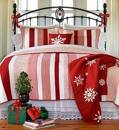 Cotton Red and White Ticking Stripe Quilt from Plow and Hearth