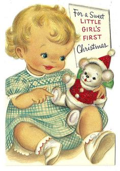 Vintage Christmas card, 1950's.