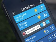Dribbble - Weather App locations list by Artua