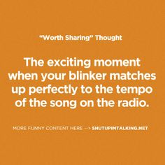 The exciting moment when your blinker matches up perfectly to the tempo of the song on the radio.