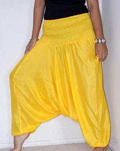 Yellow Harem pants/ Unisex Harem /Hippie by TopsyCurvyDesigns