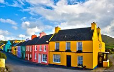 Eyeries, Ireland - Colorful! eyeri, cork, ireland, color, painted houses, bays, irish, place, rainbow