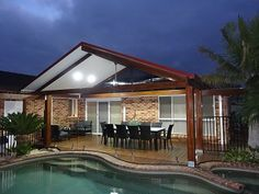 Pergola Attached To House Roof Patio Roof, Pergola Patio, Pergola Plans, Pergola Kits, Pergola Ideas, Patio Ideas, Backyard Ideas, Gable Roof Design, Outdoor Rooms