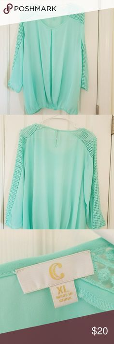 TEAL Blouse!! Like new:) 🍁👍 Absolutely gorgeous teal blouse from Charming Charlie. I wore this blouse one time and I have lost weight so I can no longer wear it. This blouse is in excellent condition!   Feel free to ask me questions and don't forget to check out my Boutique! Charming Charlie Tops Blouses