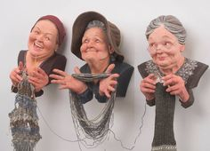 Realistic Sculptures of Three Old Women by Zhanna Martin - PaintingTube Sculptures Céramiques, Polymer Clay Sculptures, Polymer Clay Dolls, Sculpture Clay, Clay Projects, Clay Crafts, Ceramic Sculpture Figurative, Pottery Sculpture, Paperclay
