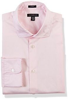 Crafted Collar Men's Slim Fit Spread Collar Solid Pink Business Shirt Easy Care Review