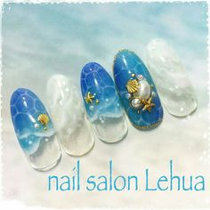 ☺ Cute Nail Art Designs, Beautiful Nail Designs, Crazy Nail Art, Cool Nail Art, Fancy Nails, Cute Nails, Beach Themed Nails, Ocean Nail Art, Nail Desighns