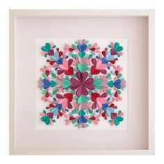 Kaleidoscope 3 - Unique 3D paper artwork created from hand-cut hearts, folded and arranged into an intricate kaleidoscope design.